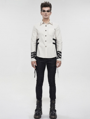 White Gothic Punk Daily Wear Long Sleeve Shirt for Men