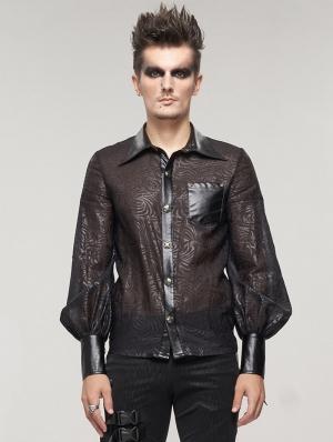 Black Retro Gothic Jacquard Long Sleeve Shirt for Men