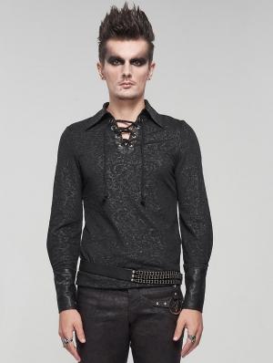 Black Gothic Retro Jacquard Long Sleeve T-Shirt for Men