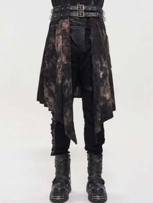 Black Gothic Punk Open Front Irregular Half Skirt for Men