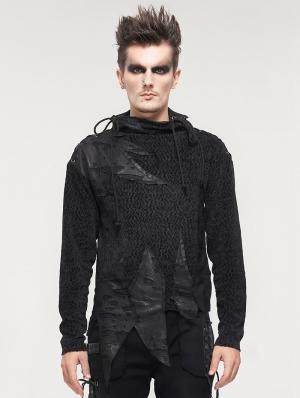 Black Gothic Punk Asymmetrical Long Sleeve Sweater for Men