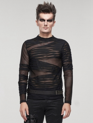 Black Gothic Punk Transparent Net Long Sleeve T-Shirt for Men