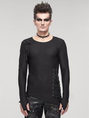 Black Gothic Punk Asymmetric Long Sleeve T-Shirt for Men