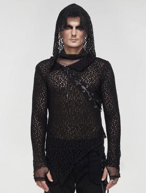 Black Gothic Punk Irregular Hooded Net T-Shirt for Men
