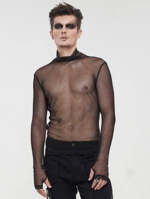 Black Gothic Punk Net Transparent Long Sleeve T-Shirt for Men