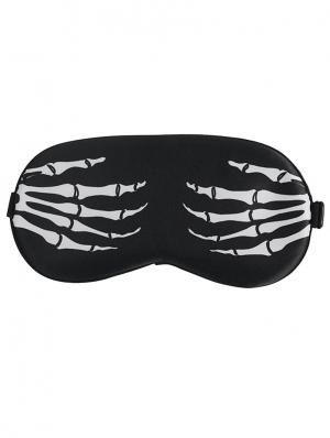 Black and White Gothic Skeleton Pattern Soft Eye Sleeping Mask