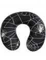 Black and White Gothic Spider Web Pattern U-Shaped Neck Support Cushion