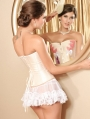 Fashion Sweet Pale Cream Overbust Burlesque Corset