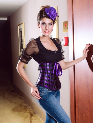 Purple and Black Underbust Waist Training Gothic Corset