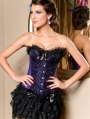 Purple and Black Floral Pattern Overbust Gothic Corset