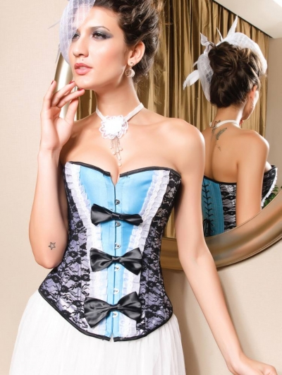 Fashion Blue and Black Lace Burlesque Corset