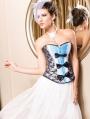 Fashion Blue and Black Lace Burlesque Corset