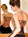 Orange Floral Pattern Overbust Waist Training Victorian Corset
