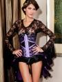 Purple and Black Lace Underbust Burlesque Corset