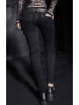 Black Skull Hand-Painted Hole Denim Gothic Pants for Women