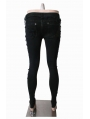Black Skull Hand-Painted Hole Denim Gothic Pants for Women