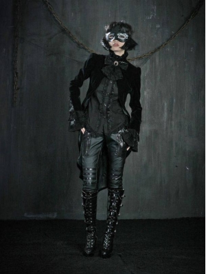Black High-Low Tuxedo Style Gothic Jacket for Women and Men