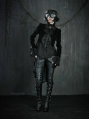 Black High-Low Tuxedo Style Gothic Jacket for Women