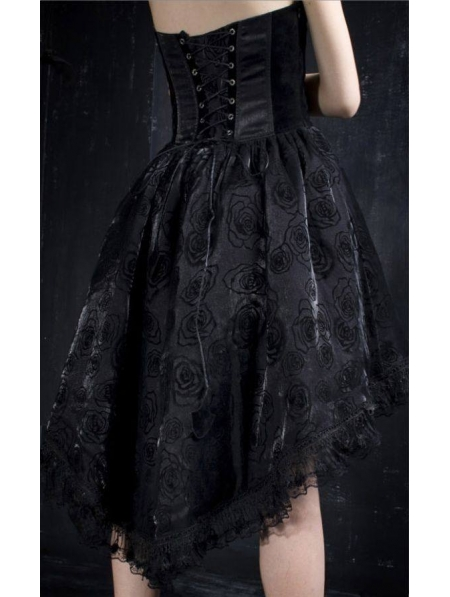 Black Halter Floral Pattern High Low Gothic Party Dress