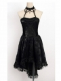 Black Halter Floral Pattern High-Low Gothic Party Dress
