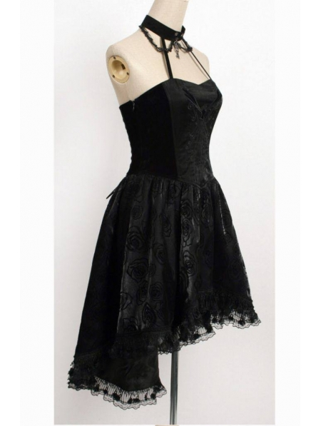 Black Halter Floral Pattern High-Low Gothic Party Dress ...