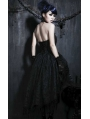 Black Floral Pattern Tassel High-Low Gothic Party Dress