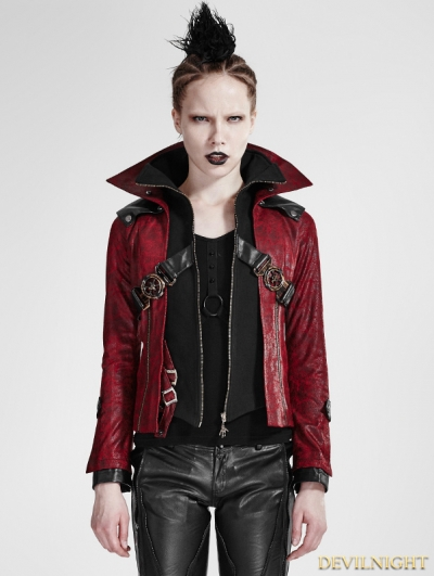 Black and Red Leather Vampire Style Gothic Jacket for Women