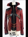 Black and Red Leather Vampire Style Gothic Jacket for Women and Men