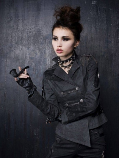 Black Short Gothic Military Jacket for Women