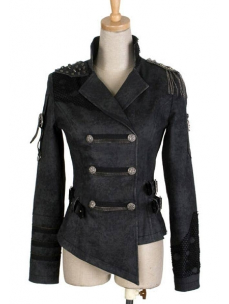 Black Short Gothic Military Jacket for Women - Devilnight.co.uk