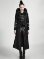 Black Long to Short Gothic Military Trench Coat for Women