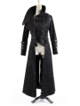 Black Long to Short Gothic Military Trench Coat for Women and Men