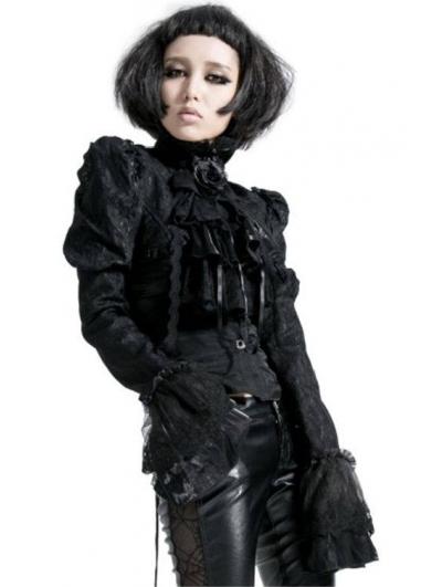 Black Romantic Lace Short Gothic Jacket for Women