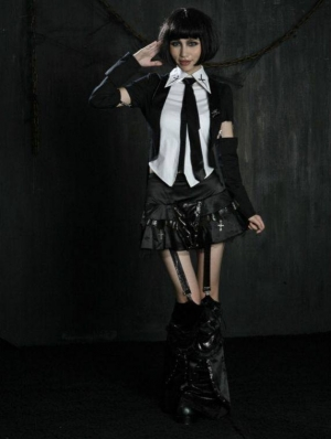 Black Gothic Punk Skirt with Leg Sets for Women