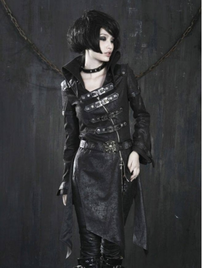 Black Leather Gothic Punk Trench Coat for Women