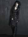 Black Leather Gothic Punk Trench Coat for Women and Men