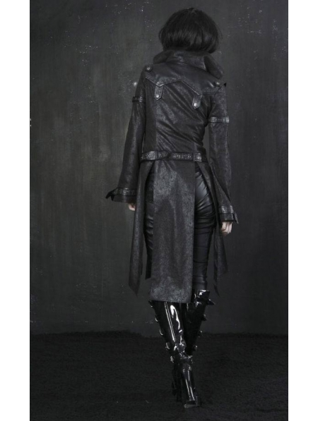 Black Leather Gothic Punk Trench Coat for Women. Previous. Black