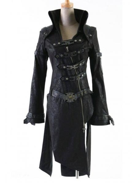 523017f0e Black Leather Gothic Punk Trench Coat for Women - Devilnight.co.uk