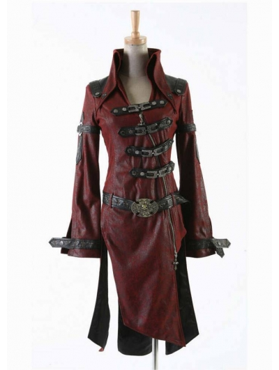 Red Leather Gothic Punk Trench Coat for Women and Men