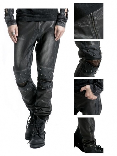 Black Leather Gothic Punk Pants for Men