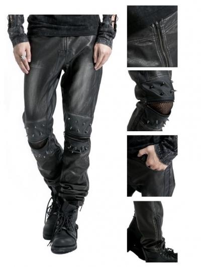 Black Leather Gothic Punk Pants for Men