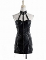 Black Halter Leather Sexy Gothic Party Dress