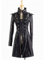 Black Leather Military Long Trench Coat for Women and Men