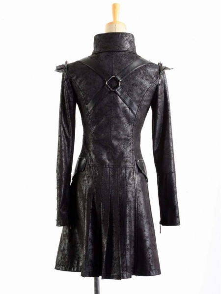 Black Leather Military Long Trench Coat For Women