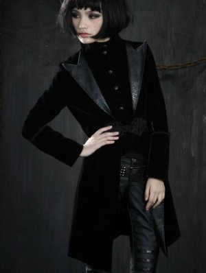 Black Velvet Gothic Chinese Style Trench Coat for Women and Men