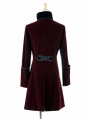 Red Velvet Gothic Chinese Style Trench Coat for Women and Men