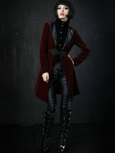 Red Velvet Gothic Chinese Style Trench Coat for Women