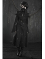 Black Cross Pattern Long Gothic Trench Coat for Women