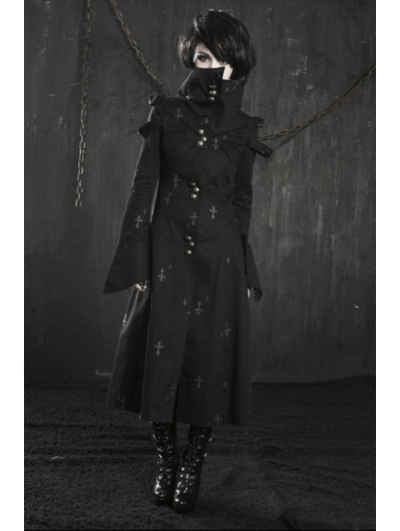 Black Cross Pattern Long Gothic Trench Coat For Women Devilnightcouk Magnificent Mens Trench Coat Pattern