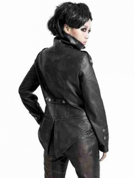 Black Leather Gothic Tuxedo Style Military Jacket for Women and Men. Cancel Display all pictures